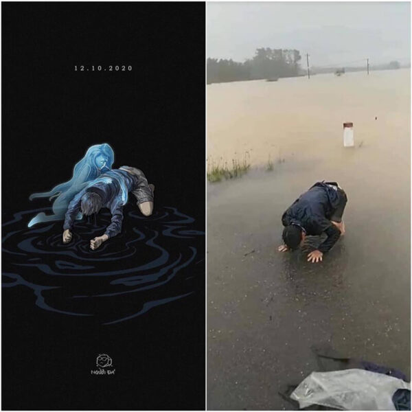 Bức vẽ họa lại hình ảnh người chồng quỳ lạy khi vợ bị nước cuốn trôi