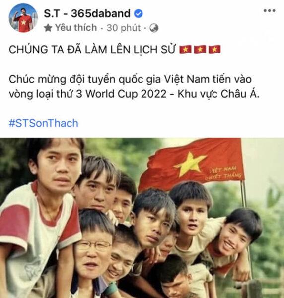 ST Sơn Thạch chúc mừng đội tuyển Việt Nam