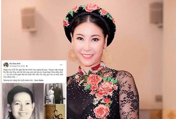 Hà Kiều Anh tự nhận 'công chúa' đời thứ 7 triều Nguyễn